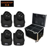 Flightcase 4XLot Малый Би глаза водить Moving Head Light 6 * 15W O-S-R-A-M RGBW 4в1 цветосмесительного Mini LED Moving Light Beam Tiptop