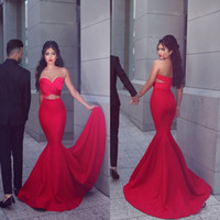2019 New Sexy Red Mermaid Evening Dresses Long Sweetheart Pleats Front Open Cocktail Dresse Prom Wear Sweep Train Cutaway Lados Vestidos de festa