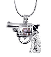 Perlas de la gema de la perla de la forma de la pistola colgantes de los medallones de la jaula, montajes colgantes de la perla del deseo del amor para la joyería del collar de DIY