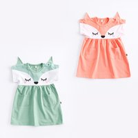 Girls Dresses Fox Cartoon Short Sleeve with Pockets Baby Kid...