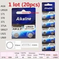 20 قطع 1 وحدة AG6 LR920 171 370 371 371A SR927 L921 LR69 1.55 فولت بطاريات زر خلية البطارية القلوية شحن مجاني