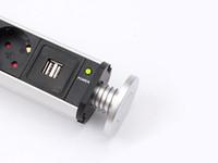 2019 EE. UU. / Reino Unido / UE / AU cocina oculta emergente toma de corriente orvibo 1 led + 3 * potencia + 2 carga USB Estante de aluminio FBA envío rápido