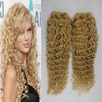 Светлые бразильские волосы ткать афро кудрявый вьющиеся волосы 200 г 2 шт. 613 отбеливатель блондинка человеческие волосы ткачество