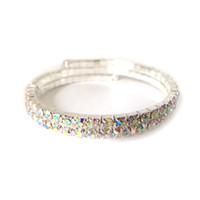 2 Row Wedding nupcial espiral Rhinestone Crystal Stretch pulseras brazalete plateado plata y chapado en oro accesorios de la joyería para las mujeres