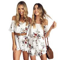 Mulheres Sexy A-Line Neck PlaySuits Imprimido Flare Sleeves Mini Pants Ruffles Hem Ladies Casual Fashion Fashion New Novelty Vestidos