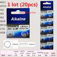 20 pz 1 lotto AG11 LR721 162 361 362 362A SR721 L721 LR58 1.55 V batterie a bottone alcalino batteria a bottone Spedizione gratuita