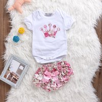 Baby Girls Romper Outfits Summer Crown Onesies + Butterfly F...
