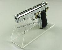 Mejor venta de boutique store Pistolas de acrílico transparente Pistola de exhibición al aire libre modelo de arma que muestra el estante del soporte de exhibición de la pistola 20 unids / lote