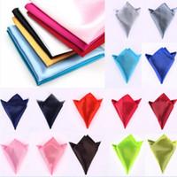 Pañuelos Hombre Satén 35 Color sólido 22 * 22 cm Pañuelo Banquete de boda Hanky Pocket Square para el día del padre regalo de corbata de negocios