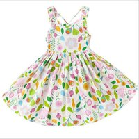 Floral Girls Dress Sleeveless Cotton Easter Kids Outfit Twir...