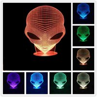 3D Lampada USB Power 7 colori Amazing Optical Illusion 3D Grow LED Lampada Alien Shapes Bambini Camera da letto Night Light