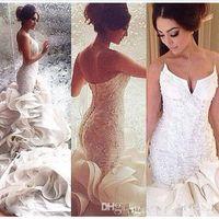 2017 로맨틱 섹시 인어 웨딩 드레스 레이스 Organza 레이스 Appique 채플 트레인 브라 가운 맞춤 제작 플러스 크기