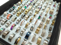 Wholesale 100 pcs mix lot stainless steel rings fashion jewe...