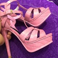 تحية براءات الاختراع والجلود تمساح جلد امرأة عالية الكعب الصنادل روما نمط سيدة منصة الكعوب رقيقة مضخات الأحذية مثير 14CM 10CM