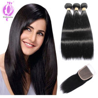 Brazilian Straight Hair 3 Bundles with Closure 7A Unprocesse...