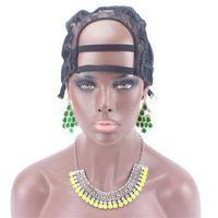 Bonnet en U Bonnet perruque de couleur noire pour la confection de perruques avec bandoulière réglable à l'arrière