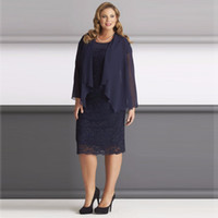 Dark Navy Blue mit Chiffon-Jacke Mutter der Braut Kleider Scoop Neck Langarm Plus Size Mutter des Bräutigams Kleid