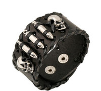 Bijuterias Cabeça de esqueleto de bala Rocha Bikers Ampla Bangle Rivet Alloy pulseira de couro Men Casual Punk Vintage Bracelet G134