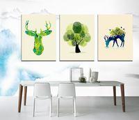Маленький свежий палец окрашены олень дерево современный абстрактный масляной живописи в украшения дома безрамное SIRILI искусство холст стены искусства