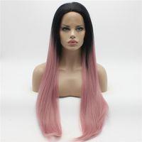Iwona волосы прямые удлиненные темно-корень розовый Ombre парик 22#1/3100B половина ручной связали жаропрочных синтетические кружева перед парики