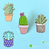 Vente en gros-Bijoux de mode Goutte d'huile Mignon Cactus Pots Planète Métal Broche Broches Bouton Pins Fille Jeans Sac Décoration
