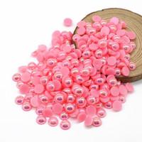 Imitación Media Perla Redonda Rosa Oscuro AB Color ABS Flatback Cuentas Adornos para DIY Decoración, 500-5000pcs / pack
