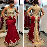 Dark Red Satin 2017 Abendkleid Scalloped Abendkleid Sexy Mermaid prom Abendkleider Lange Mit Gold Appliques Robe De Soiree Günstige