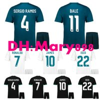 La meilleure qualité 17 18 Real madrid Home white soccer Jersey Kits away RONALDO LUCAS V MORATA JAMES BALE RAMOS MODRIC 3RD noir Football Shirt