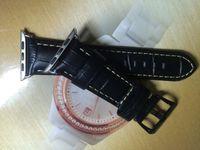 جديد 42MM رجل جلد أسود ووتش حزام، حبة التمساح، مجهزة موصل أبل. جودة الدرجة الأولى، والسعر الأكثر ملاءمة، مجانا