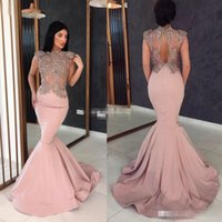 Sexy Mermaid Hollow Back Dress Evening Wear Long Illusion Bo...
