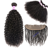 8A Peruvian Virgin Hair Kinky Curly With Lace Frontal Closur...