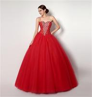Auf Lager Schatz Ausschnitt Red Tulle Crystals Ballkleid Quinceanera Kleid Sexy 16 Kleider vestido de festa