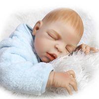 Silicone Reborn Babies Boy 23 pulgadas completa de silicona vinilo muñeca realista bebé recién nacido muñeca puede mentir y sentarse