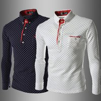 Homme Polo T Shirt Mode Revers Polka Dot Print Loisirs Slim Manches longues T-shirts style Angleterre
