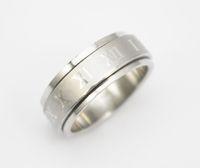 الفولاذ المقاوم للصدأ طبقة مزدوجة دوران حلقة للجنسين الرجال والنساء الفضة الدورية حلقة المجوهرات عدد الروماني سبينر للتدوير الدائري