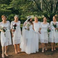 Marfim laço boho boho casamento casamento dama dama curta com meia mangas a-linha casual vintage casamento dama de honra vestido boêmio feito sob encomenda