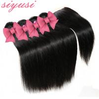 Capelli lisci peruviani con chiusura 3 o 4 pezzi lotto capelli vergini peruviani con chiusura trame di capelli umani economici con chiusura