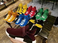 Top qualité Hot Human Race NMD avec 2 lacets Chaussures Accessoires Chaussures Casual Hommes Pharrell Williams Chaussures de course Sneaker grande taille 36-48