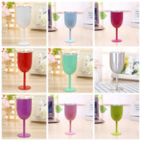 Hot 10oz Stainless Steel Wine Glass 9 Colors Double Wall Ins...