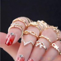 1 Set 7 pcs Women' s Rhinestone Bowknot Knuckle Midi Mid...