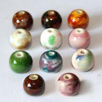 Фарфоровые бусины, 13mm, разноцветный,DIY аксессуары, керамические свободные бусины,круглая форма,много цветов для выбора, продается per bag of 100 pcs