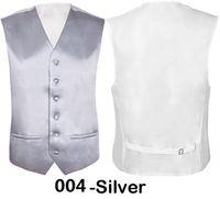 "Wholesale- New Mens Slim Fit Vest Wedding Groomsmen Silver Formal Waistcoat Groom Size 36""-48"" Chest Available S M L XL XXL 3XL 4XL"
