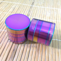Colorful Herb Grinder Diametro 40mm in lega di zinco 4 strati tabacco fumo Crusher per vetro Bong Water Pipe Ice Blue Rainbow Color