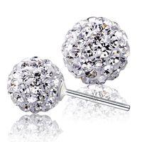 Hot 925 Sterling Silber Ohrringe Schmuck Charme einfach 6/8/10/12 mm Shambhala Ball Ohrringe