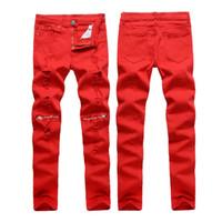 Wholesale- Men Hole Jeans Special Red Biker Fashion Zipper Design Pencil Pants Ripped Denim Jeans Night Club Casual Slim Skinny