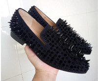 New Handmade Black Suede Miscellaneous Nail Spike Red Bottom...