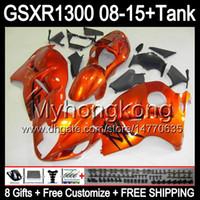 8gifts Per SUZUKI Hayabusa GSXR1300 08 15 GSXR-1300 arancio lucido 14MY166 GSXR 1300 GSX R1300 08 09 10 11 12 13 14 15 Carenatura arancione nero