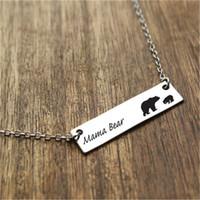 Heiße verkaufende neue Art und Weise Mama Bär Beschriftung mit zwei Bären Halskette Silber Bar Halskette warme Mutterliebe Weihnachtsgeschenk für Mutter