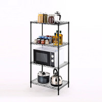 4 Tiers Epoxy Black Home Storage Wire Shelving Rack