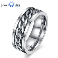 Rotatable chain Man Jewelry Silver Fashion Titanium Steel Rings For Men New 2016 ( RI101823) 17401